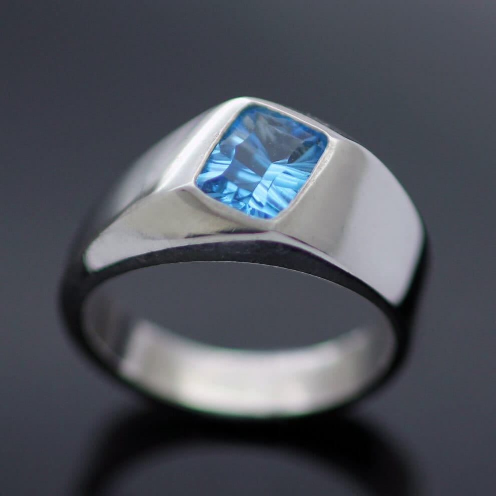 Swiss Blue Topaz optix cut silver handmade ring