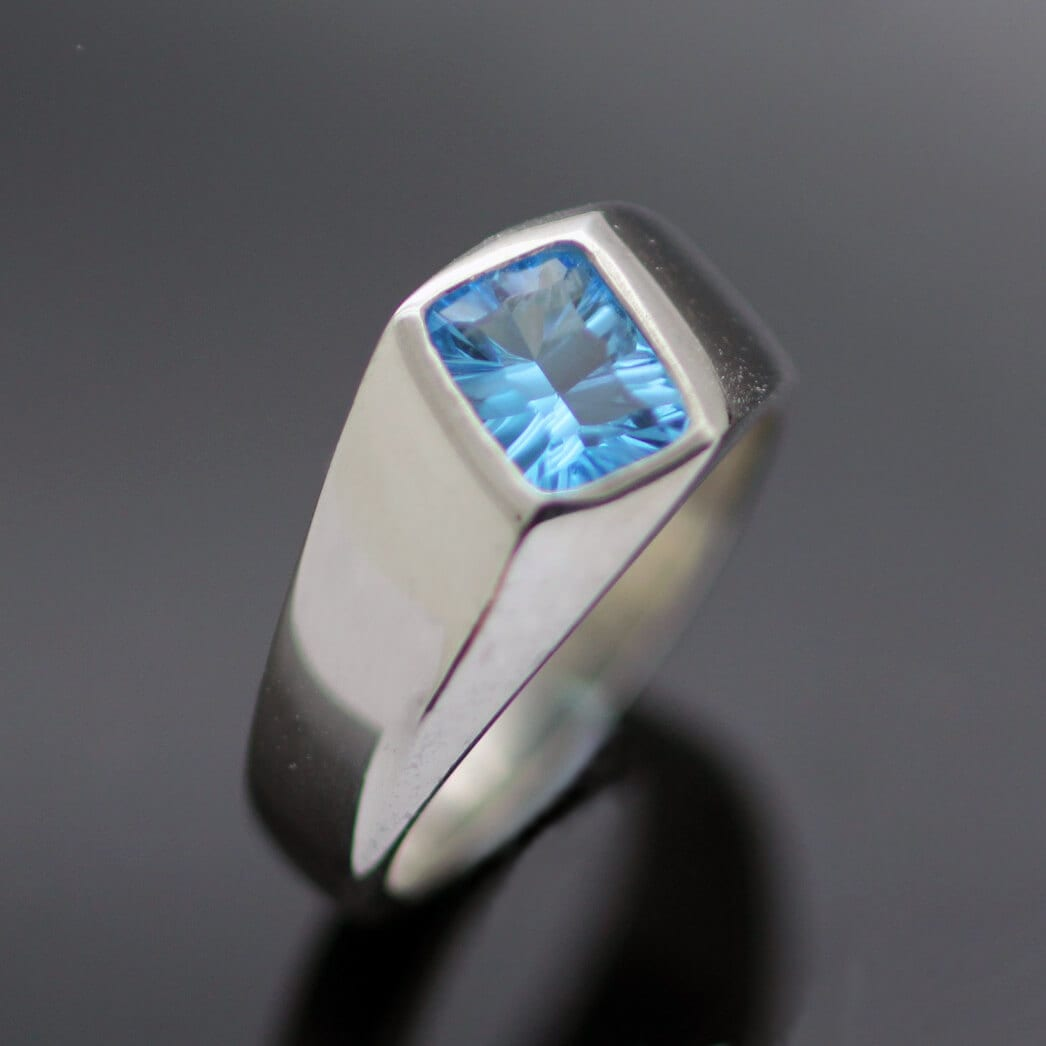 Unique modern signet ring sterling silver blue topaz gemstone