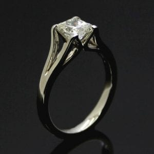 Princess Cut Diamond set in modern Platinum band, contemporary engagement rings by Julian Stephens