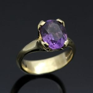 Yellow Gold and Oval cut Amethyst bespoke handmade ring