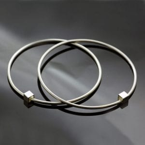 Modern handmade sterling silver Cube stacking bangles