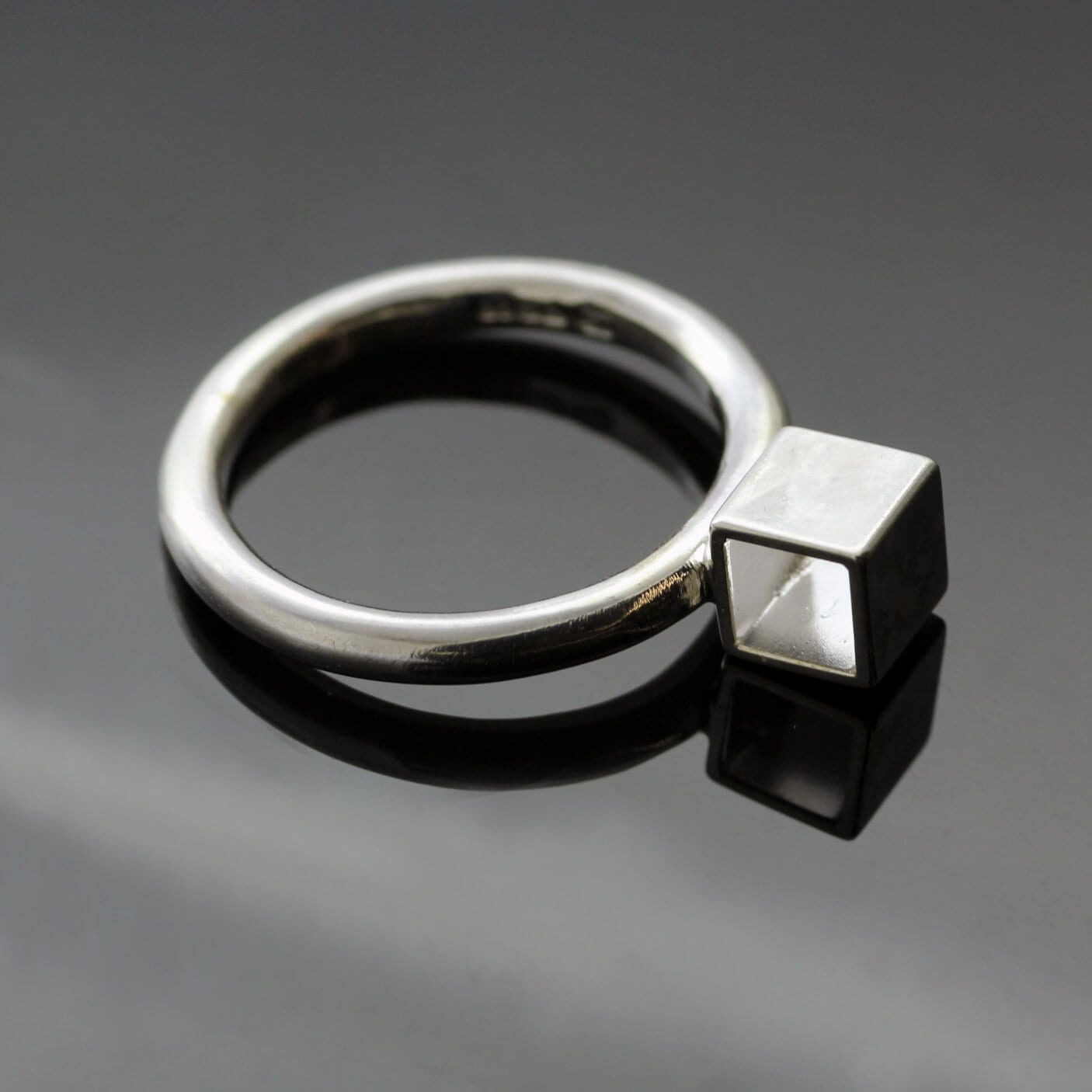 Modern geometric Cube silver stacking ring