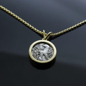 Antique Bekah coin framed in solid 18ct Yellow Gold to create a handmade pendant