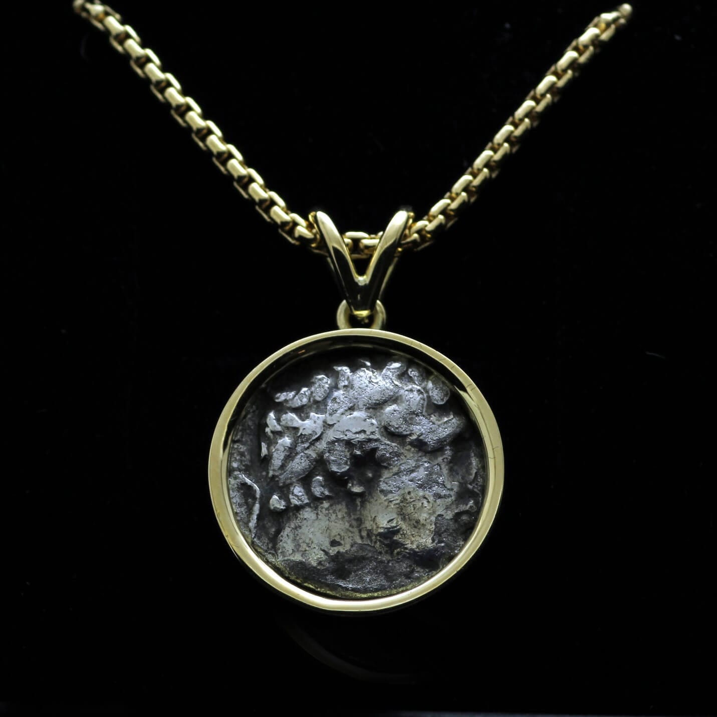 Unique bespoke necklace in Yellow Gold with Antique coin by Julian Stephens