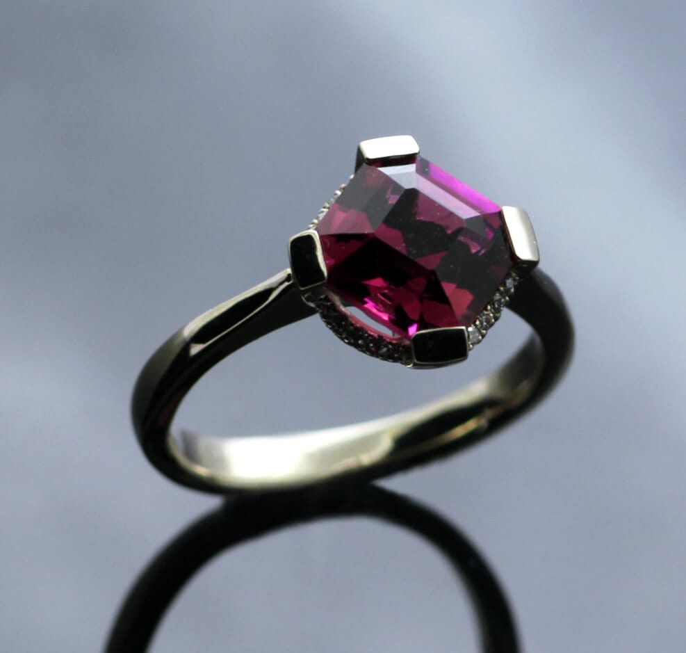 Pink Tourmaline, garlands of Diamonds and White Gold Gatsby engagement ring by Julian Stephens