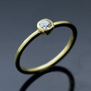 Contemporary, handmade engagement ring with Old Cut Diamond set in solid 18ct Yellow Gold