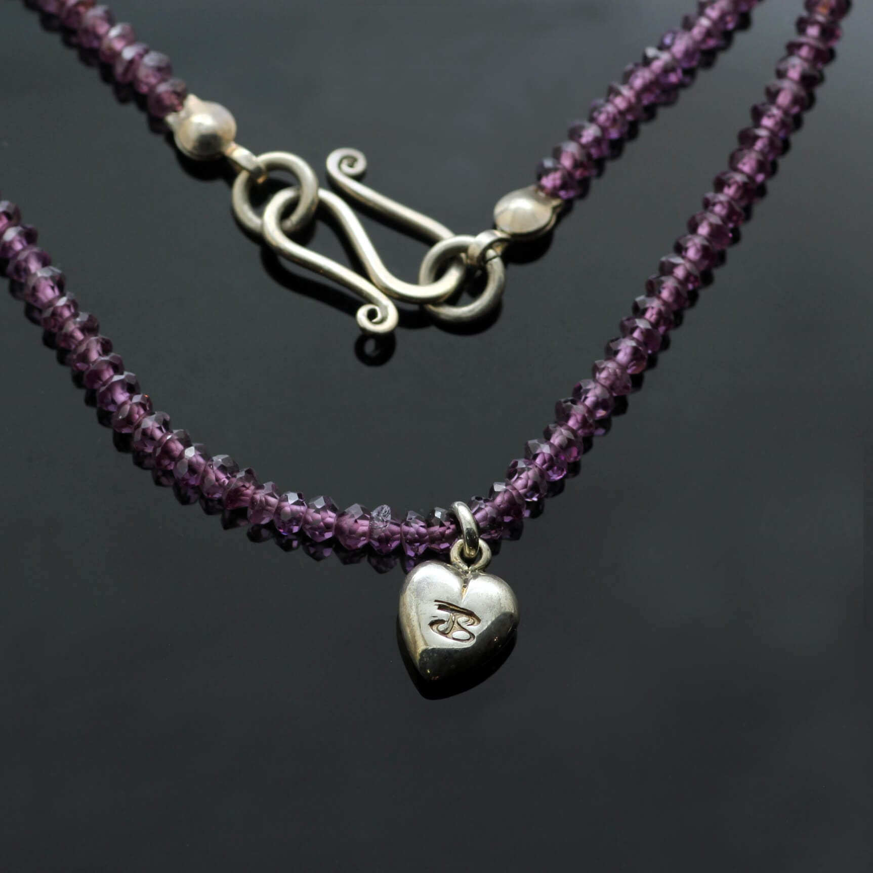 Contemporary silver hallmarked heart charm Amethyst bead unique necklace