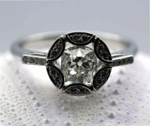 Old Cut Diamond and Platinum handcrafted engagement ring by Julian Stephens Goldsmith