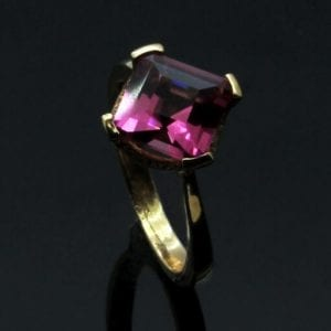 Pink Tourmaline and Garlands of Diamonds set in 9ct Rose Gold engagement ring