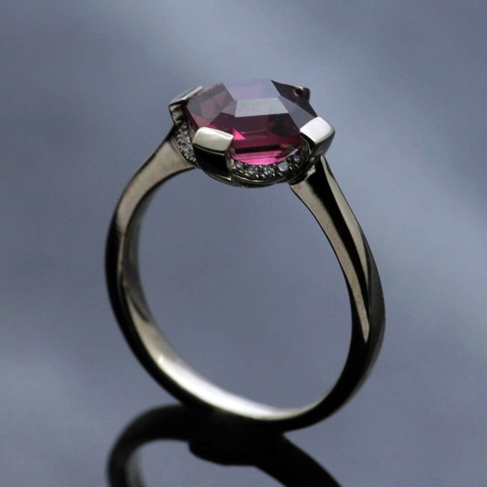 Unique, modern Pink Tourmaline engagement rings by Julian Stephens