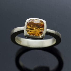 Citrine gem Sterling Silver handmade statement ring