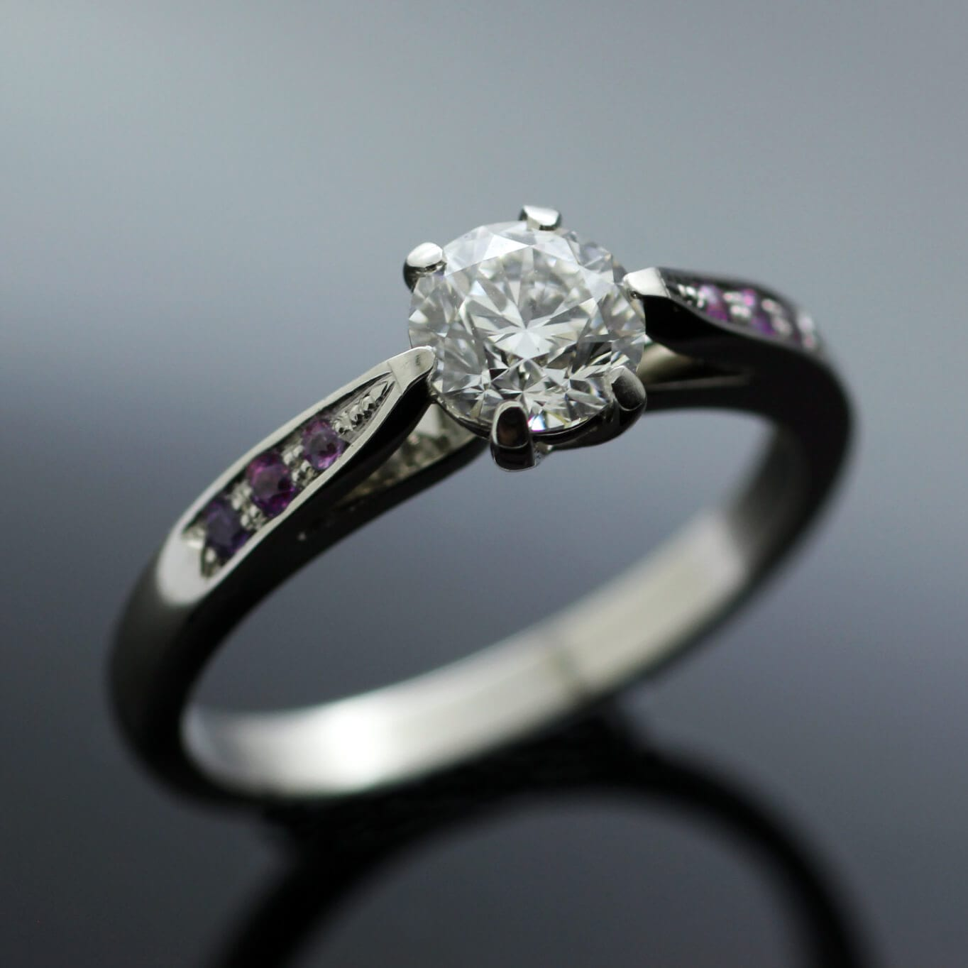 Bespoke Platinum and Round Brilliant Diamond engagement ring by Julian stephens