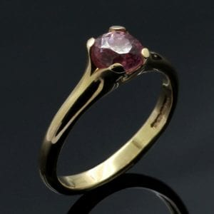 Contemporary Flower Rose Gold engagement ring with Pink Sapphire