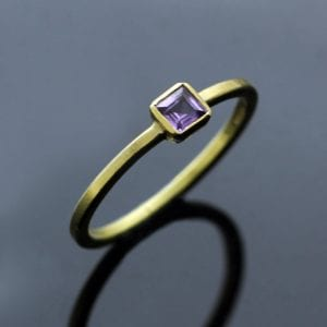 Square cut Purple Sapphire solid 18ct Yellow Gold handmade modern stacking ring