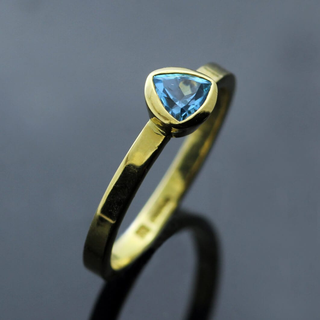 Yellow Gold Blue Topaz Trillion cut gem handmade stacking ring