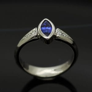 Bespoke, handcrafted Blue Sapphire and White Gold engagement ring