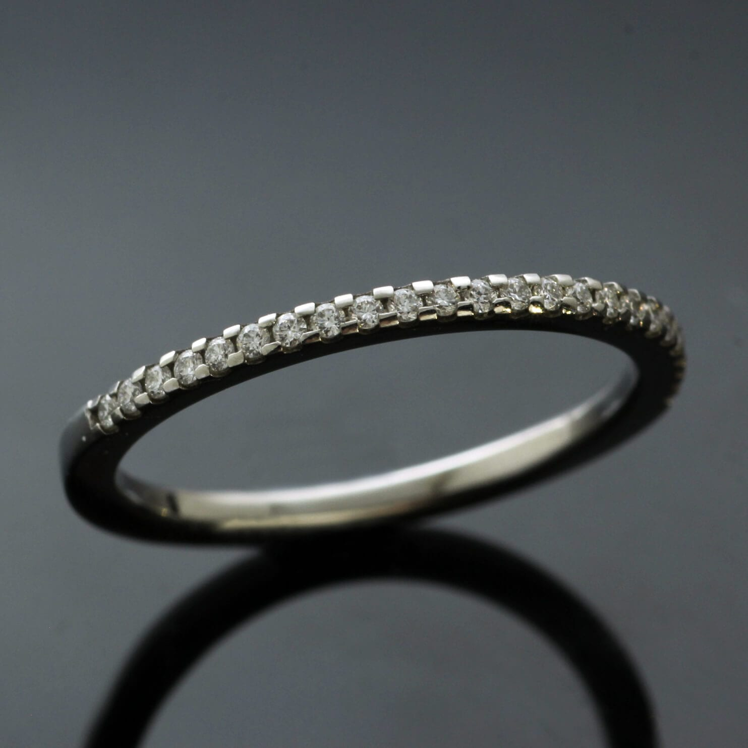 Platinum Diamond half eternity band unique modern design