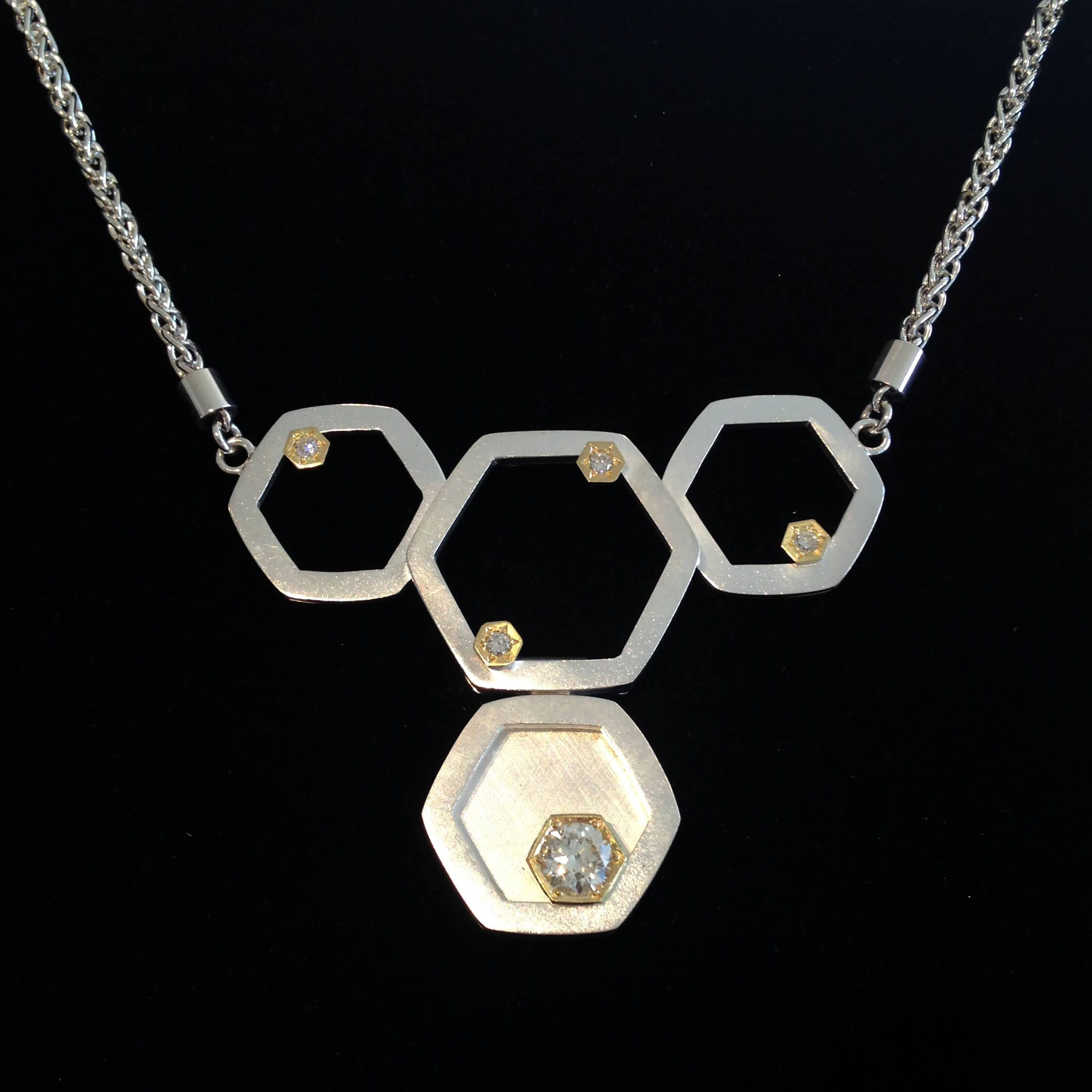 Bespoke handmade Yellow Gold and Silver honeycomb necklace
