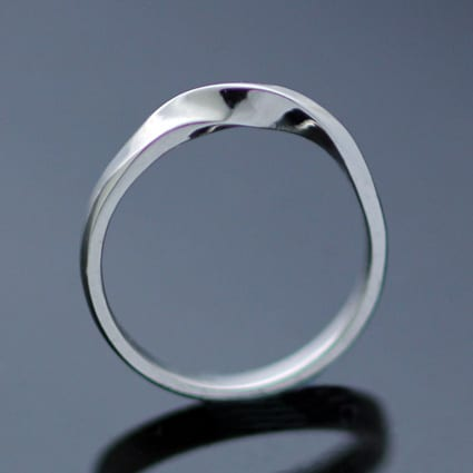 Sterling Silver unique handmade Moebius Twist Flat wedding band modern style