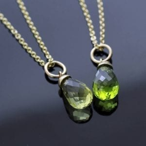 Peridot Lemon Quartz Briolette cut birthstone yellow gold pendants