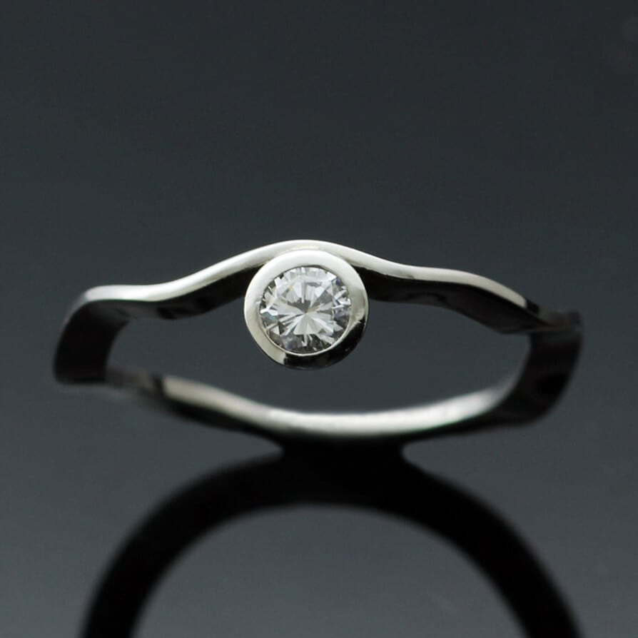 Ruscello Solitaire 0.25ct Diamond and Platinum handmade engagement ring