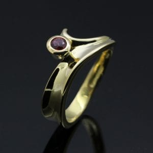 Yellow Gold and Ruby handcrafted unique bespoke ring