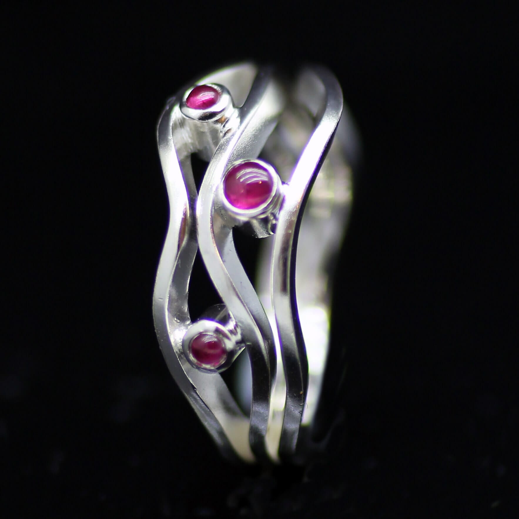 Bespoke handcrafted Ruby and White Gold contemporary engagement ring