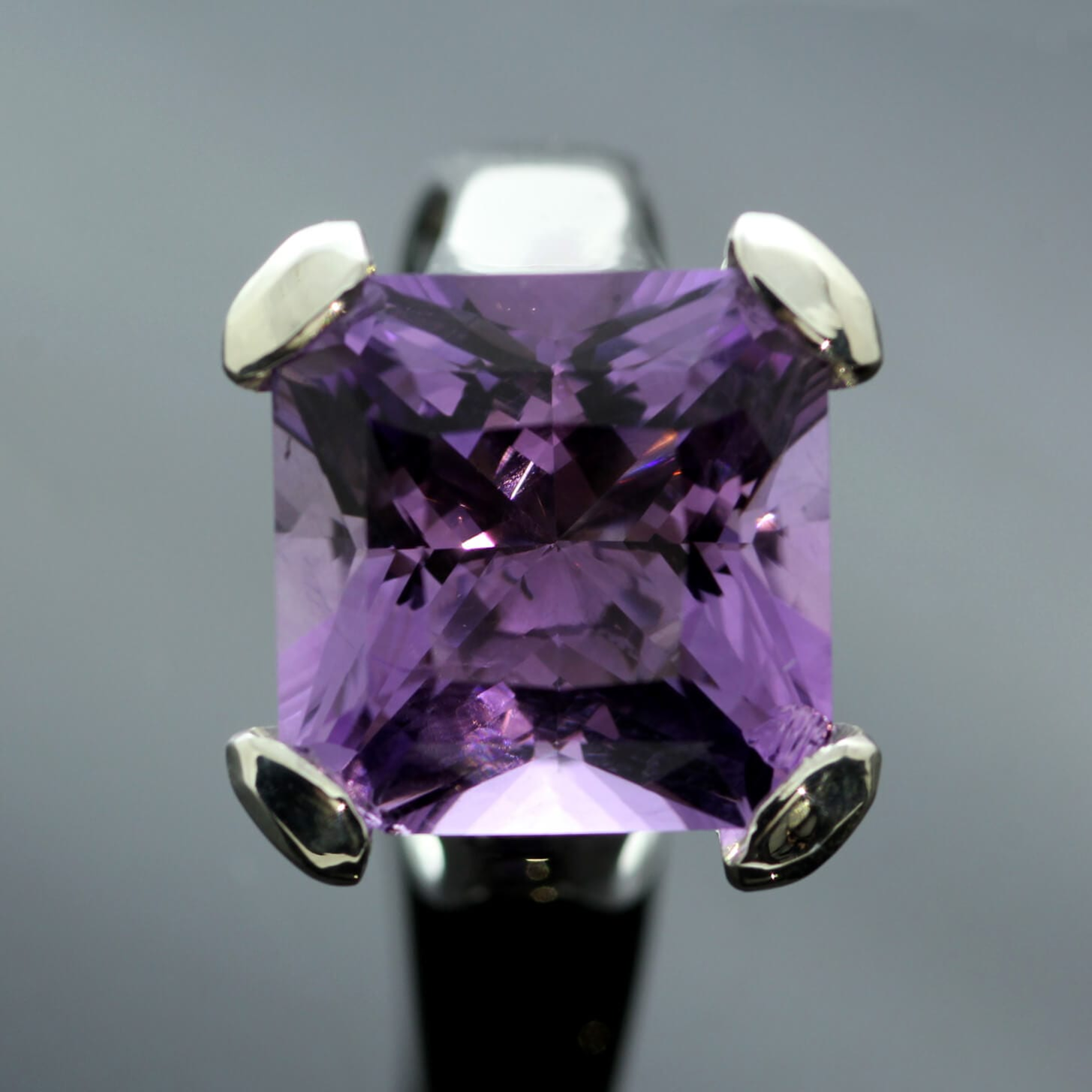 Bespoke Square cut Amethyst Sterling Silver handmade ring