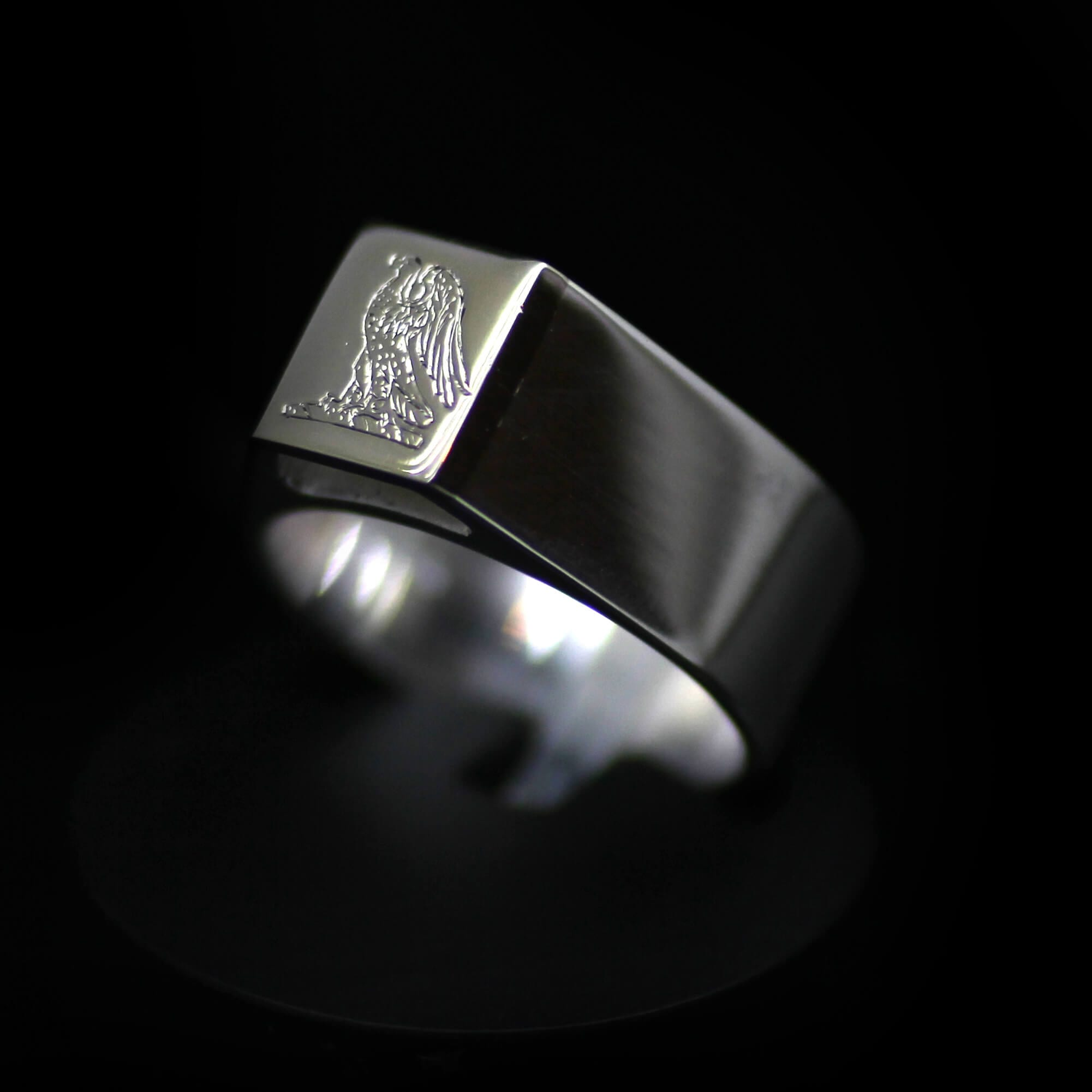 Bespoke handmade 14ct White Gold mens Signet ring