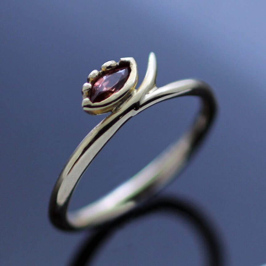 Yellow Gold unique handmade ring garnet gemstone
