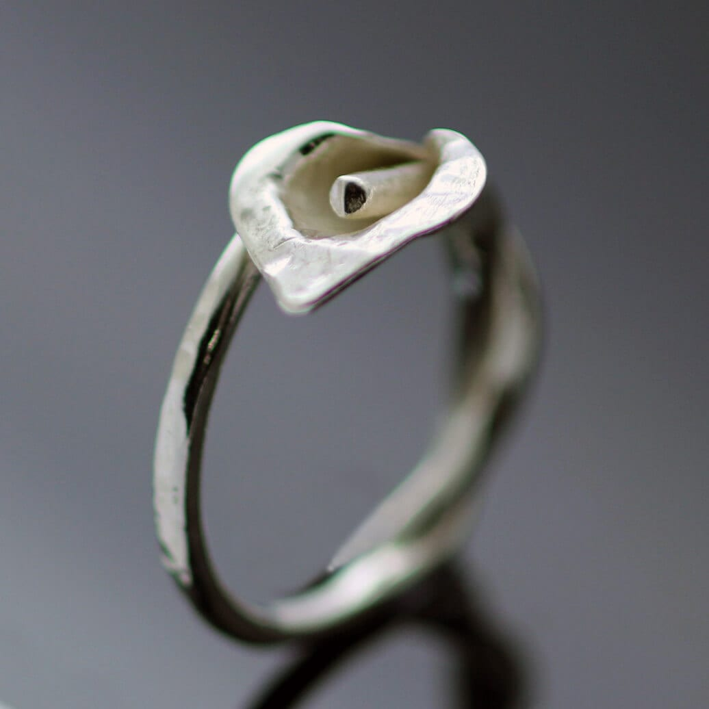 Unique Silver Calla Lilly ring handmade
