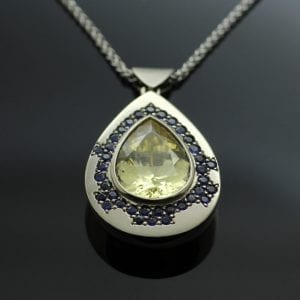 Pear cut Zircon gem with blue Sapphires in 18ct White Gold modern handcrafted necklace