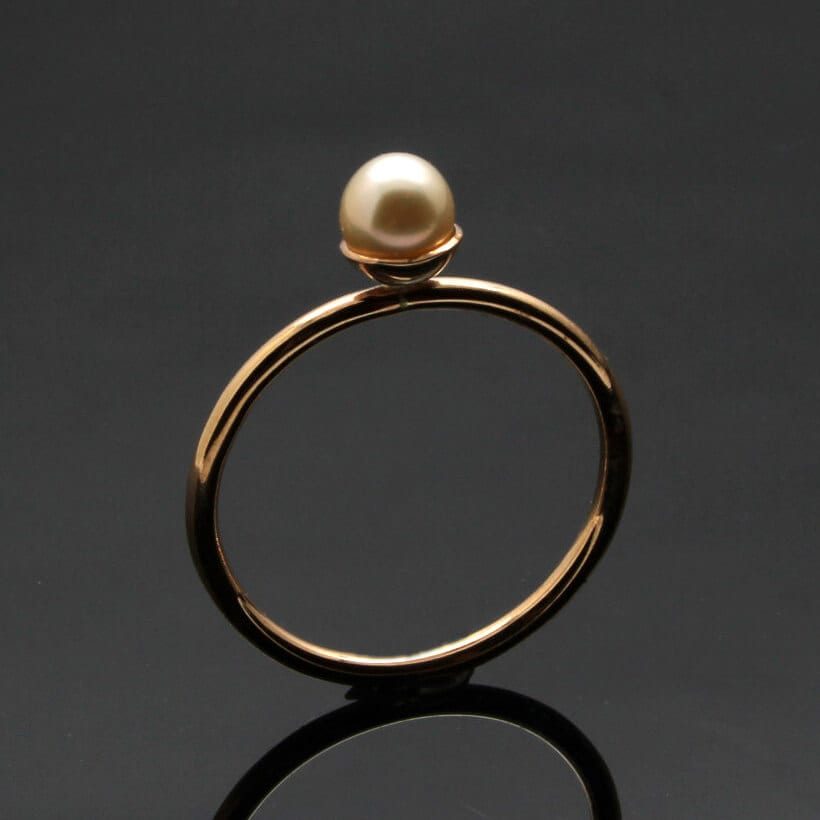 Modern pink Pearl Rose Gold handmade cocktail ring