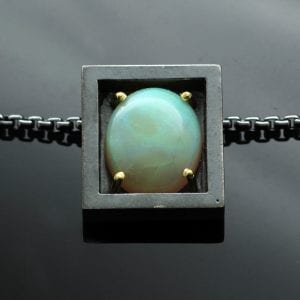 Cabochon cut fire Opal unique handcrafted Sterling Silver modern pendant