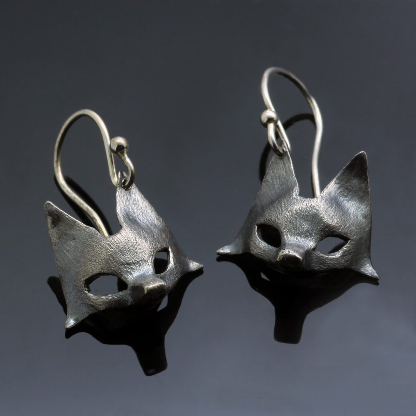 Fox earrings oxidised sterling silver handmade