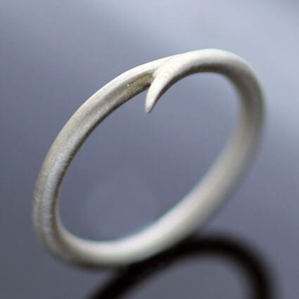 Silver satin finish modern minimal stacking ring handmade
