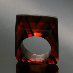 Contemporary statement jewellery handmade perspex ring