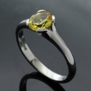 Unconventional and unique handmade Chrysoberyl engagement ring by Julian Stephens