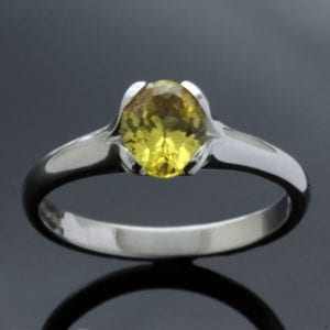 Chrysoberyl gemstone engagement ring set in solid Palladium by Julian Stephens