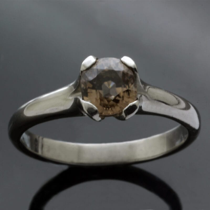Unique Flower engagement ring with Zircon gemstone by Julian Stephens