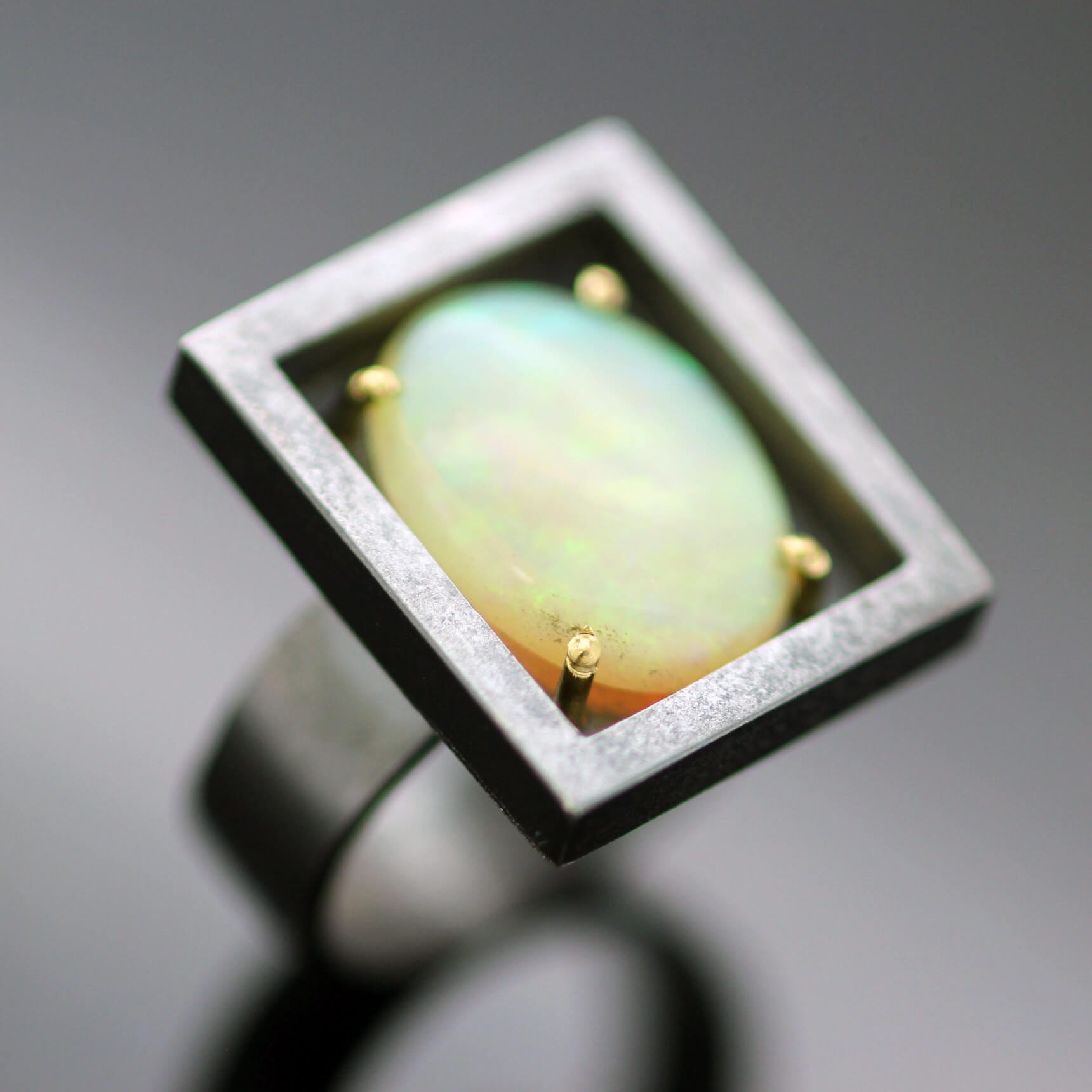 Contemporary statement ring Australian Opal Sterling Silver 18ct Yellow Gold