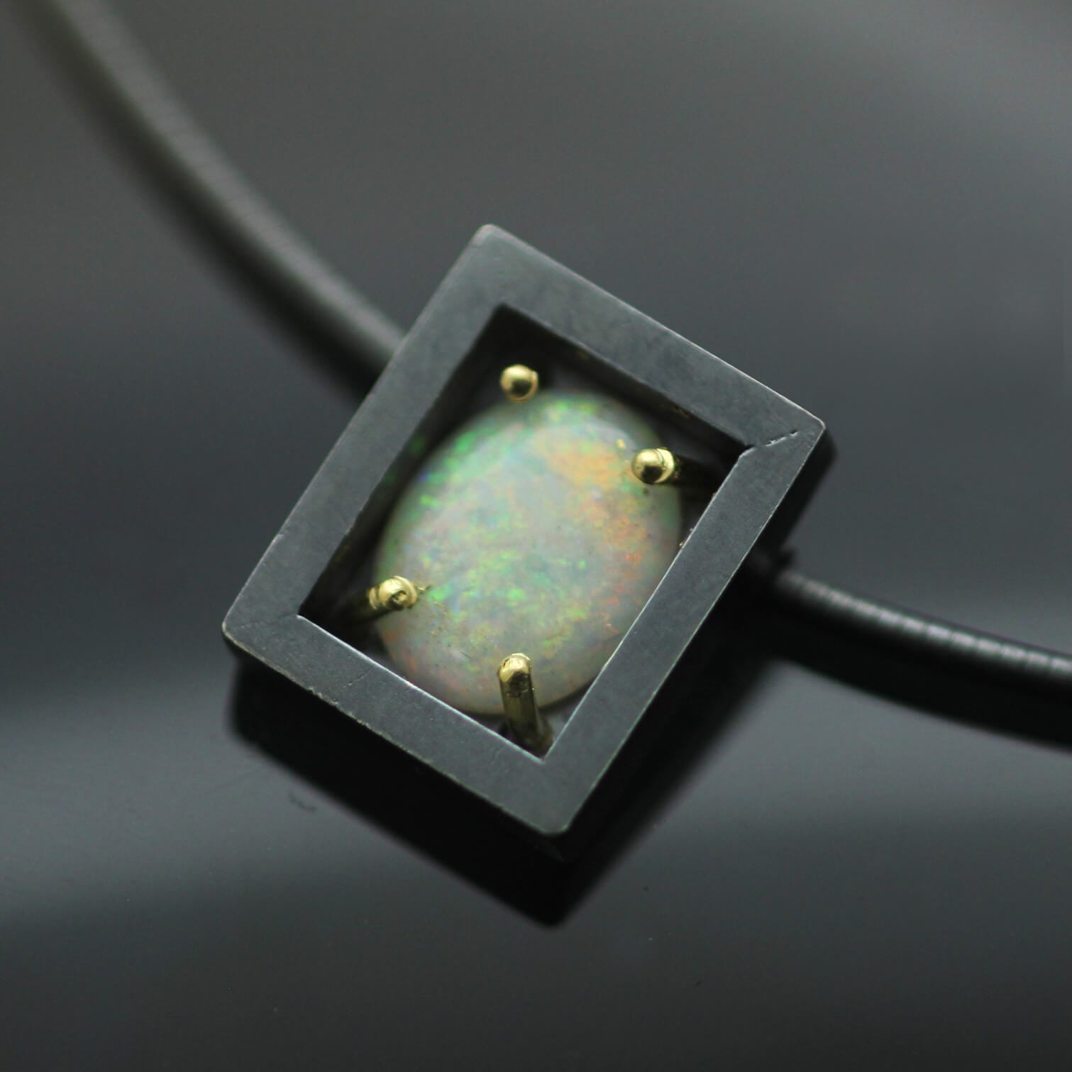 Australian Opal gemstone oxidised Sterling Silver 18ct Yellow Gold handcrafted necklace