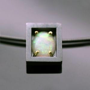 Cabochon cut Opal handcrafted Sterling Silver 18ct yellow gold modern necklace