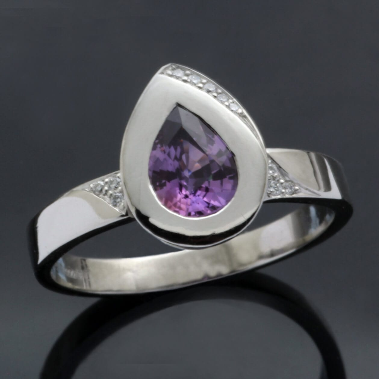 Pear cut Purple Sapphire gem solid Platinum stylish modern statement ring
