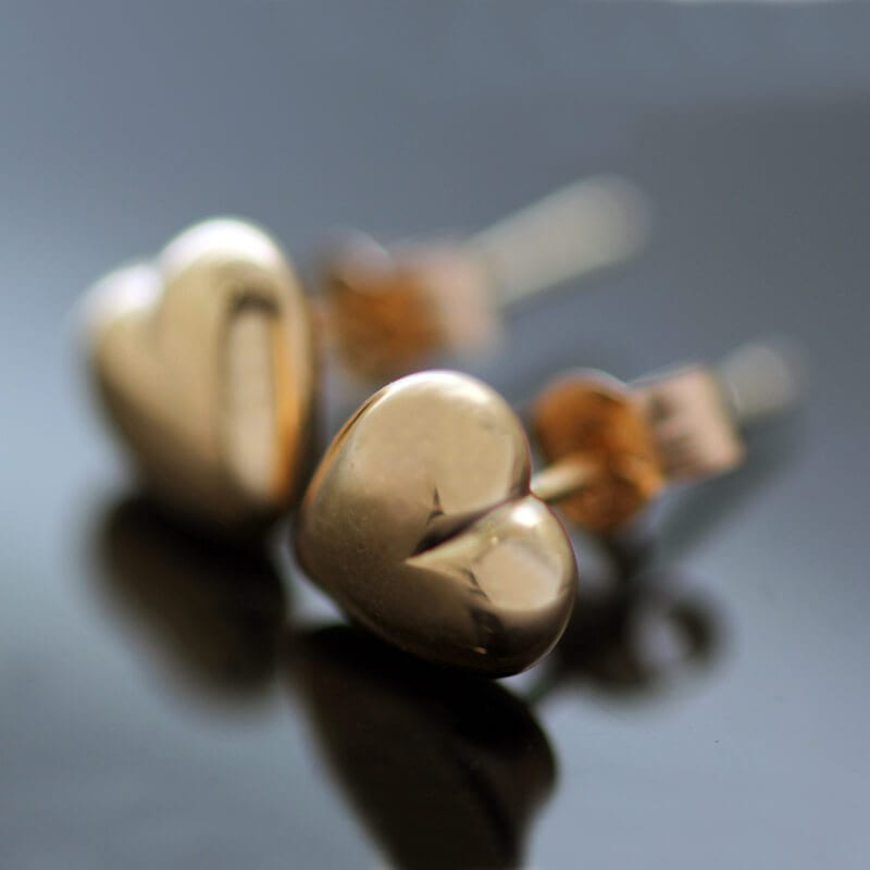 Handmade solid Rose Gold modern Heart stud earrings