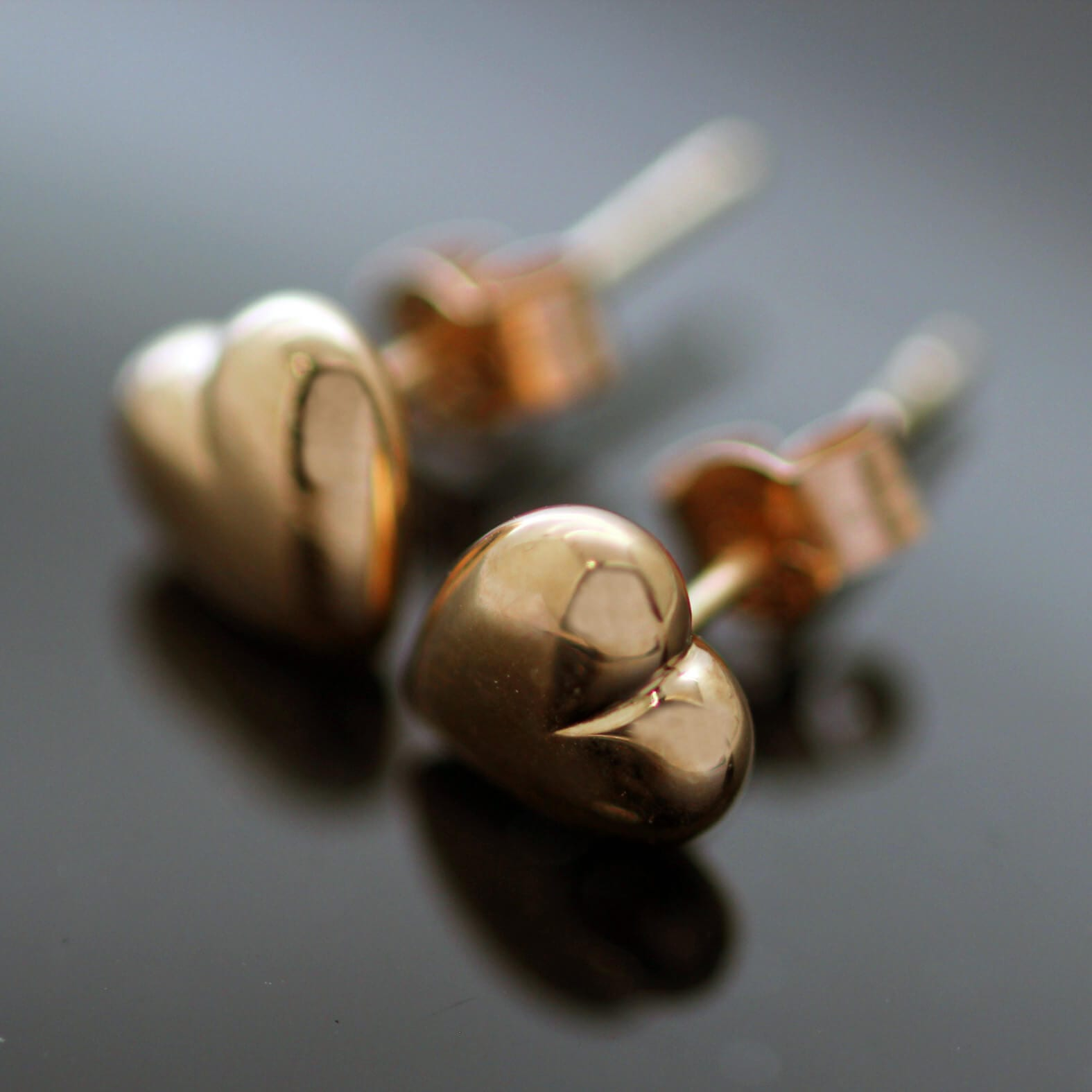 Contemporary solid Rose Gold heart earrings handmade