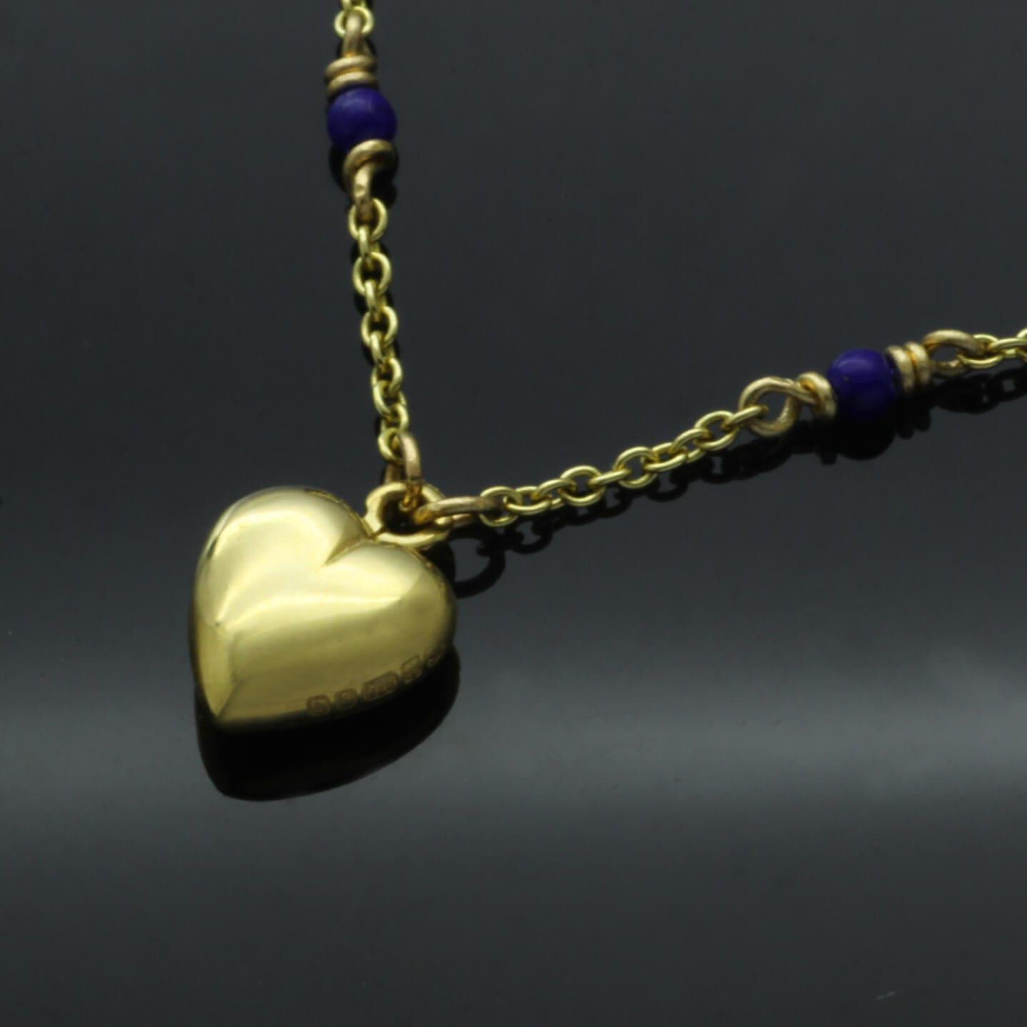 Lapis Lazuli bead 18ct yellow gold necklace with handmade heart charm