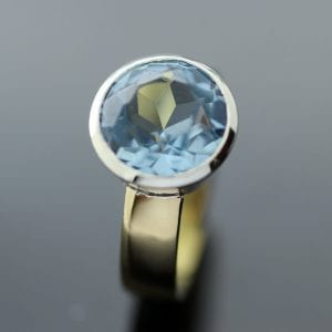 Bespoke handmade cocktail ring with Blue Topaz gemstone