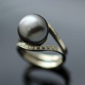 Tahitian Pearl Garlands Diamonds White Gold handmade contemporary ring