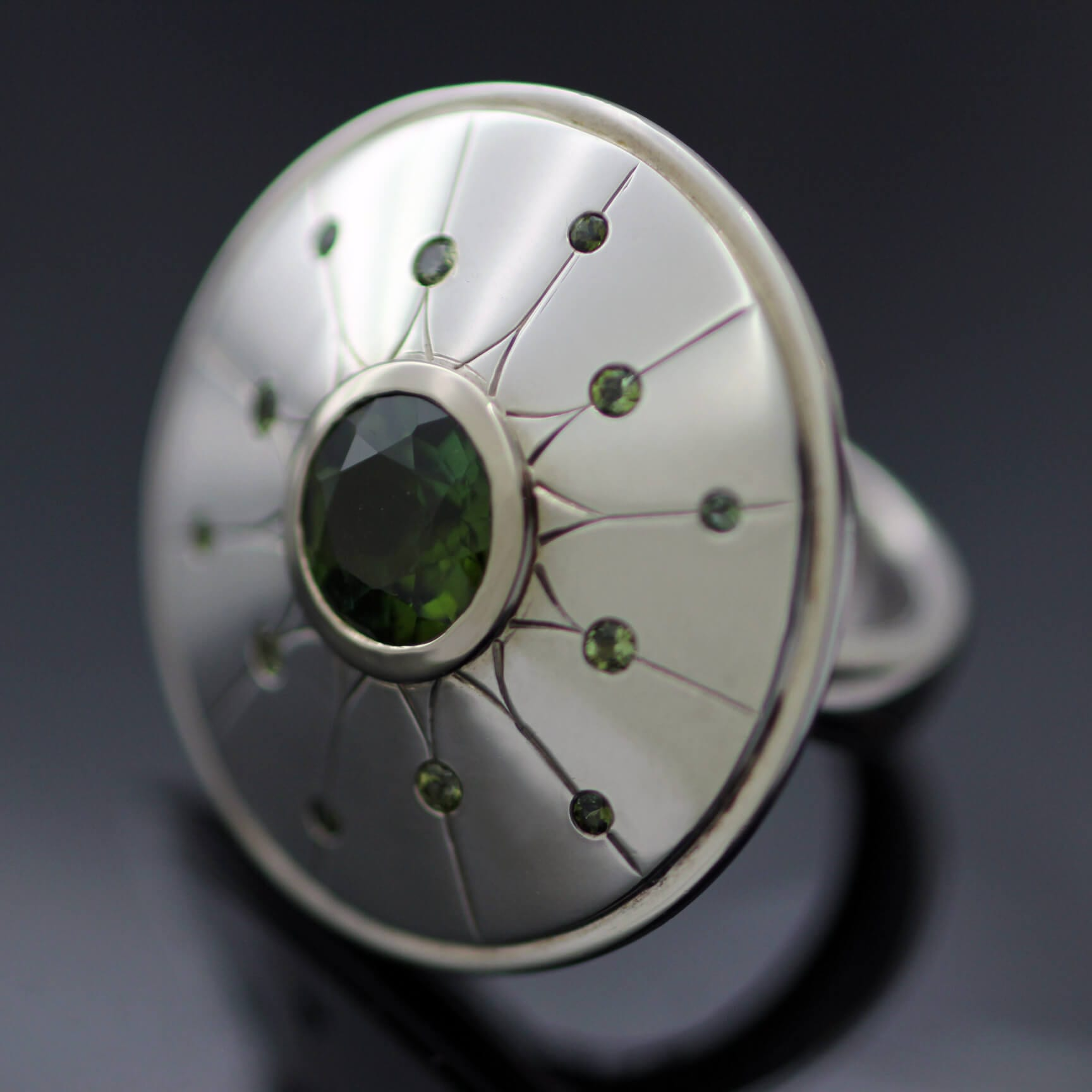 Unique cocktail ring Green Tourmaline Green Sapphire White Gold and Silver
